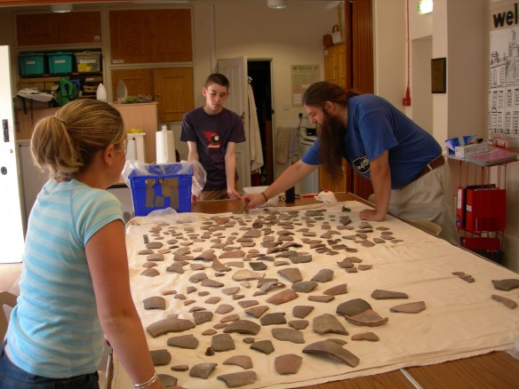 All the sherds spread out in the study centre at Kingston Lacy, Rob, the collections manager and two student placements helpped to record them