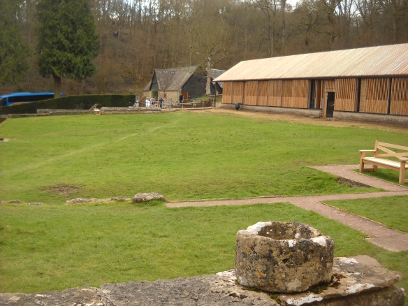 The completed West Range cover building. Important Roman guests would have entered the centre of the West Range where there is an open door in the photo. We all enter via the back door which is beside the hedge top left of the picture.