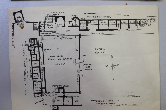 Plan for a 1940s guide book for Chedworth villa. Top is the north range and left the west range. Here were two suites of sumptuous bathing, dining and accommodation rooms linked by corridors. The little understood service range is at the bottom of the picture. Bottom left is marked 'unexplored' and excavations here in the 1950s interpreted this area as a large kitchen.The little square room projecting from the bottom edge of the picture was the villa latrine. Top left is the 'Nymphaeum building around the villa sacred spring. The water flowed through the north and west range sets of baths south through drains across the courtyard to the south range to clean the latrines.