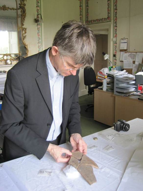 Brian Muhs, working on the ostraca in Kingston Lacy
