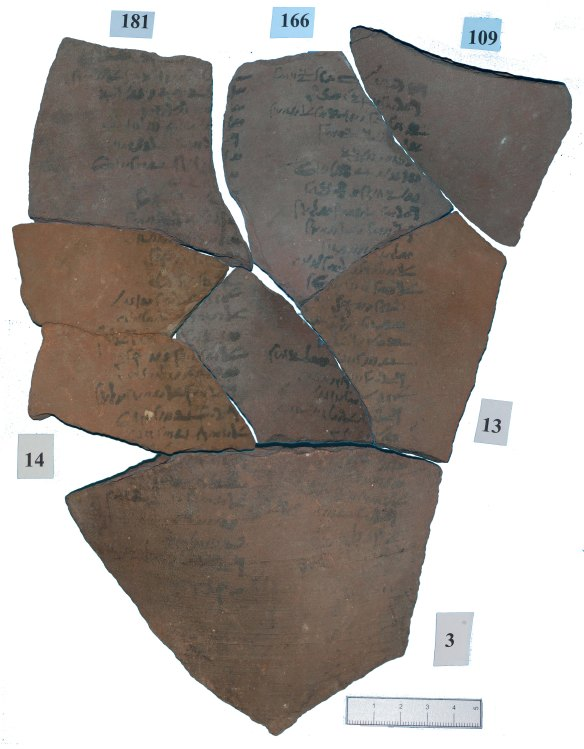 Some of the ostraca were found to fit together, not obvious from the breaks but from the scrip