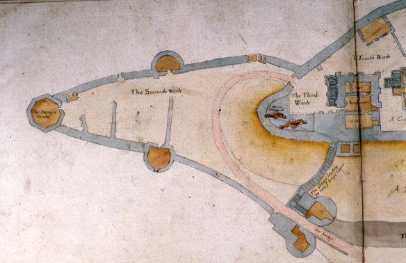 This is the West Bailey part of Ralph Treswell's map of 1586. The wall we are interested in is the central one pointing north, the one to the left of the South Tower. The wall in trench B is not there..
