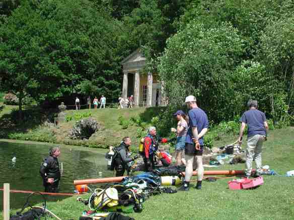 Nautical Archaeology divers in the Garden Lake, Stourhead