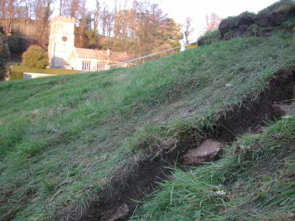 Beside the house is the medieval parish church. The late 17th century mansion is the lates of several re-designed Dyrhams that the church has witnessed. Cutting trenches in the lower garden reveal fragments of medieval cooking pot jutting out of the soil.
