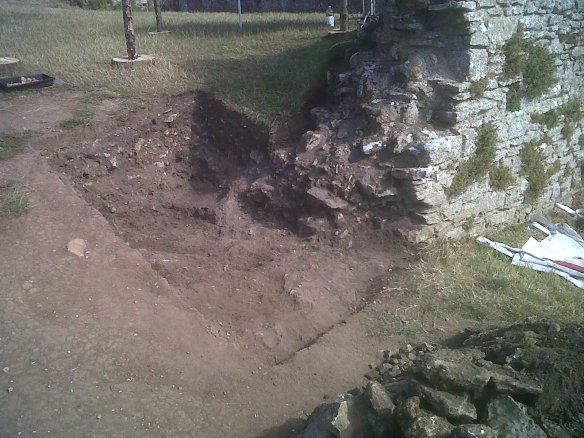 Trench A, footings of the wall discovered in 1952 seem deeply buried.