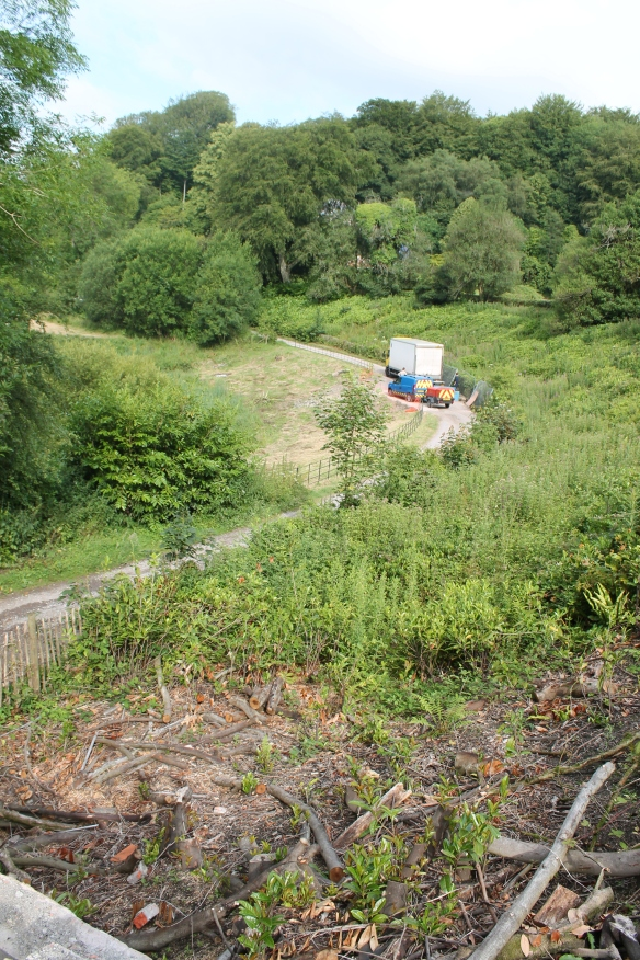 Behind the Stourhead garden lake dam where the track had subsided. The drain was found beside the vehicles.