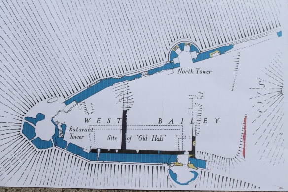 The plan of the West Bailey. The area of the geophysical survey today. The site of tomorrow's excavation is at the top of the long black wall pointing to the top of the page. Did it once continue right across the West Bailey.