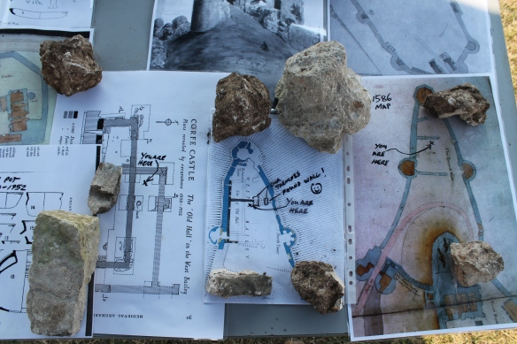 The annotated maps on the information table.