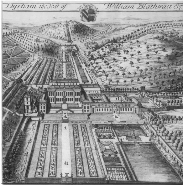 The perspective view of the Durch style gardens at Dyrham in 1712. Our excavations and geophysical surveys have proved some of the features in the drawing and found other elements which demonstrate later changes to the 1712 formal layout. The statue of Neptune can be seen top centre above a water cascade that flowed into a canal in front of the orangery on the right hand side of the mansion.