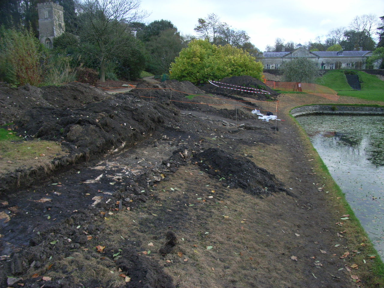 An excavation to repair the lake wall and put in new paths revealed pre-medieval ditches and stone structures.