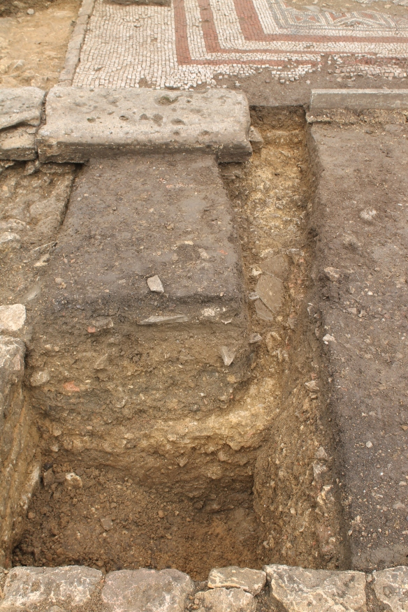 Rob's trench across our 'water feature' in 'e'. He extended his 1.2m square trench in its SW corner north towards the mosaic room wall. The big block of stone is part of the late Roman colonnade wall which is contemporary with the mosaic. It runs over an earlier wall line which you can see at the end of the trench on the right hand side of the stone.   Rob's extension picked up an uneven mortar floor which sloped down towards the square trench and has blue lias stone slabs broken onto its surface. The filling of the square trench had all been Victorian backfill but by cleaning the north trench wall back the Roman mortar surface could be seen overlying a compacted clay layer.  So there was a Roman platform of clay and mortar extending into the walled 'water feature' Had the Victorians dug through it or was the south side meant to be deeper. Over 1.0m deep from the wall top to the stone and mortar base.