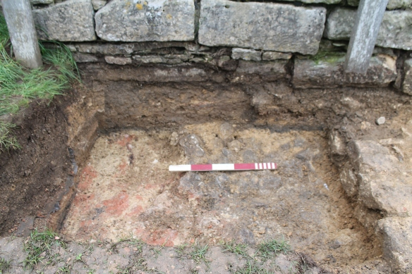 This is the earliest layer we reached a cobbled floor surface which is covered by the 'water feature' west wall which itself pre-dates the mosaic floor.