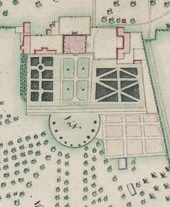 The formal garden shown on William Woodward's map of 1773. Traces of the pathways dividing the four lawns can be seen as parch marks and the geophysical survey but the semi-circular feature has not been detected during the surveys