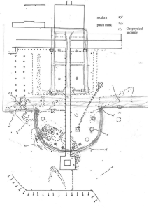 A pencil sketch of the 1773 garden over the present garden with the geophysical survey features drawn onto the plan. The house is at the top of the drawing and the obelisk at the bottom.