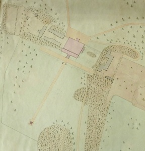 From a plan of Kingston Lacy Park and Garden dated 1849, only 20 years after the obelisk was erected. The lawn is much the same today although the 17th century stable block on the right hand side of Kingston Lacy House was demolished and moved to the left in the 1880s (it's the restaurant now).