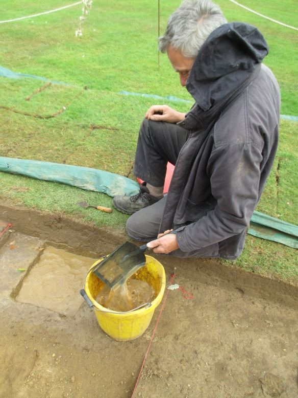 A hand shovel makes quick work of the water. Must remember a sponge next time.