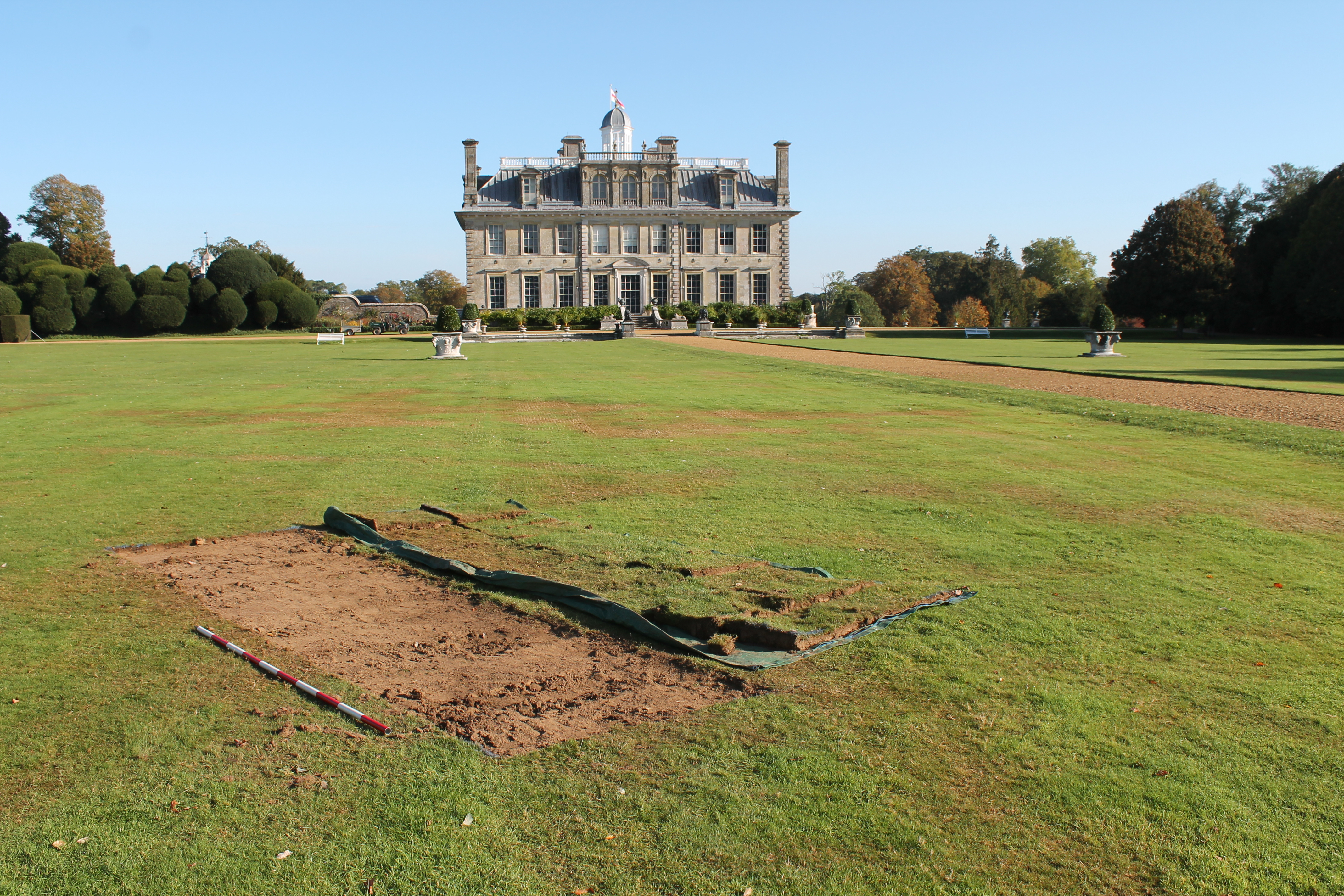 The trench early this morning carefully stripped of turf by the Kingston Lacy garden team