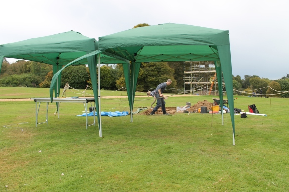 Bit windy our gazebo shelter were in danger of being swept away. Our maps and interpretation were regularly swept from the table and sent across the lawn