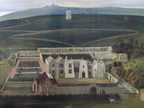 Our earliest drawn evidence of Clevedon Court is this painting still hanging in the house dated c.1730.