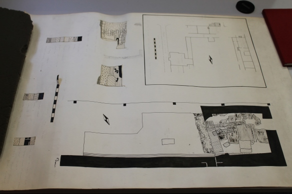 Plan and sections drawn by Eve Rutter of the 1954 excavation