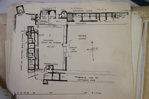 Plan of Chedworth before Eve Rutter's excavation.  The 'Porter's Lodge is the small room (IX) bottom left on the plan protruding south of the south range.