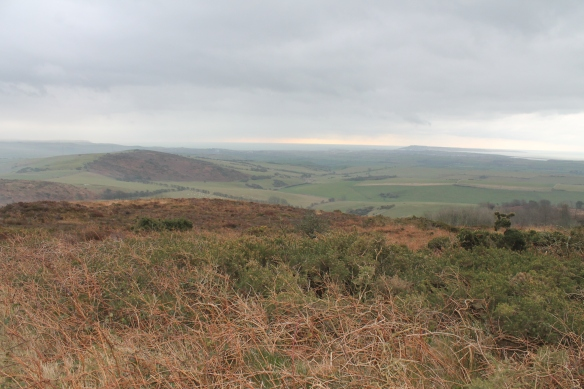 The view south towards Weymouth with the Isle of Portland jutting out into the English Channel