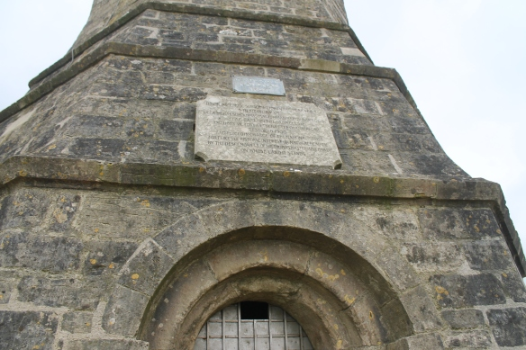 The inscription over the north facing doorway into Hardy's Monument.