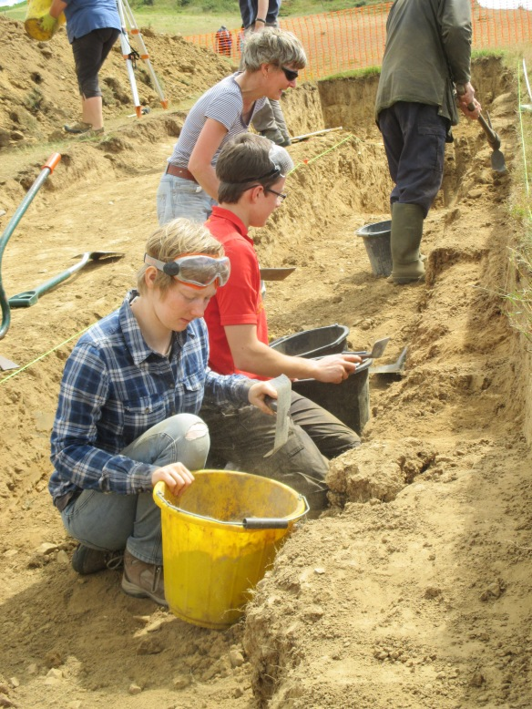 Tasha, Alex, Carol and Antony working on straightening the section