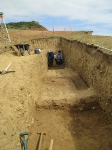 Either side of the hearth/kiln features are taken down a few levels