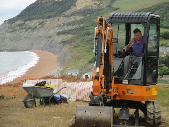 Clive and his digger arrive on site
