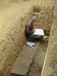 Martin recording the extra information uncovered in the eastern end of the trench