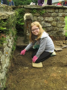 Charlotte excavating in the apsidal room
