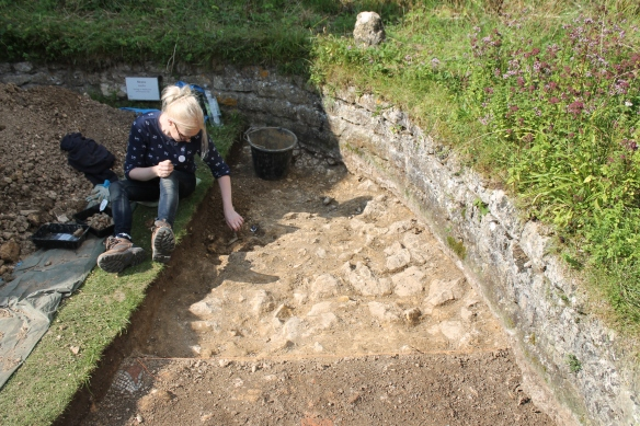 Marie and Lois took off the last archaeological layer in E to reveal the underlying limestone and clay geology which the wall sits on.