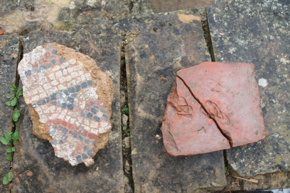 A large chunk of mosaic from trench B in room 21 and the hoof prints on the top tile from the clay tile and stone structure.