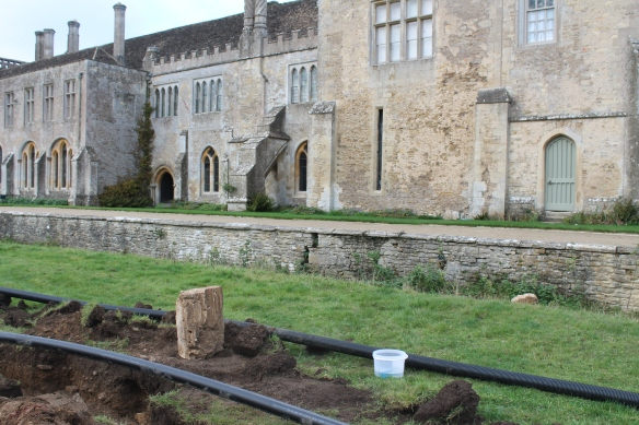 The start of the pipeline on the east side of the Abbey where the old sewage works were. A medieval carved stone marking the point were the infirmary wall and drain were found.