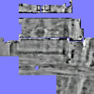 Our resistivity plot is full of detail. Top is north and the blue upper edge of the image is the Abbey with other unsurveyable paths and walls as parallel bands of blue. To orientate you to the last photo, the doorway to the left of Meg leading to the cloisters is the narrow vertical blue line top centre. Below this across the broader blue path is a circular feature,once a 17th century cut at its lower edge by the early 18th century garden wall, a very thin blue line with the Tudor garden paths and boundary wall, now under parkland grass visible further down the plot. The old London Road is the wide feature running from right to left across the bottom of the plot. The sewage pipe route ran along right edge of the plot and curved to run along the bottom edge. It was routed to avoid the detail of the Tudor garden and run along the road but found a Tudor culvert and clipped the corner of the garden wall beside the London Road.