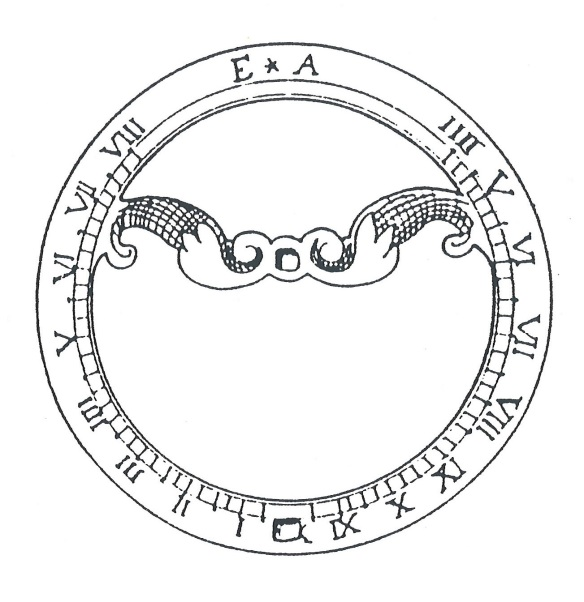A drawing of the sundial showing the decoration and sequence of roman numerals