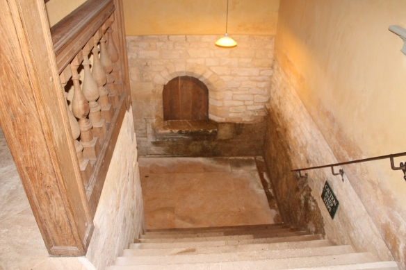 The stairs down to the 17th century basement kitchen infilled about 100 years ago and dug out again in the 1990s when Lodge Park was restored.