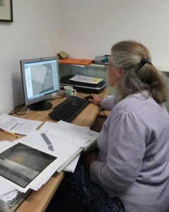 Meg doing an important job - updating the Historic buildings, sites and monuments record database