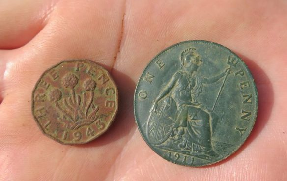 The three pence piece and the 1911 Penny