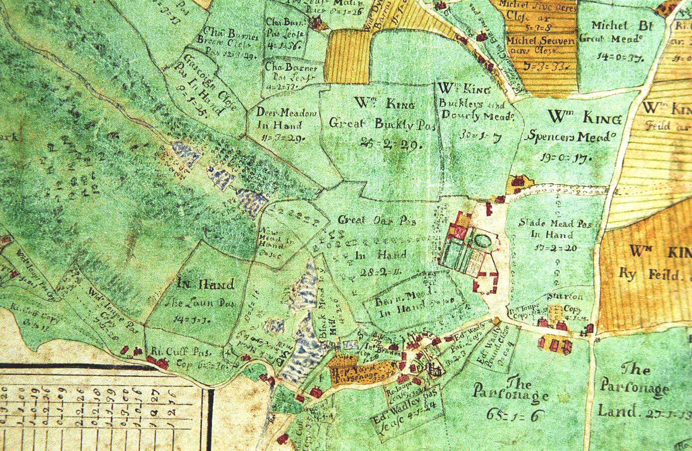 The 1722 map shows the new Stourhead House with its garden intruding slightly onto the courtyard of the stables and outbuildings below and to the right. Was this a retained part of the old house?
