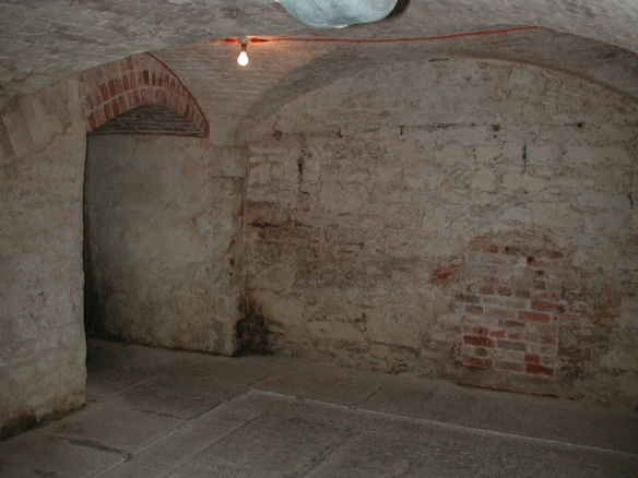 The cellars of Stourhead House. Some reused stone but nothing to indicate that these were once the cellars of Stourton Castle.